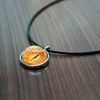 Fox Garden Hand 20mm Cat Eye Necklace - Deep Orange