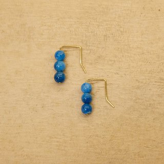 String Series Brass Apatite Dangle Earrings Ear Pins Without Piercings