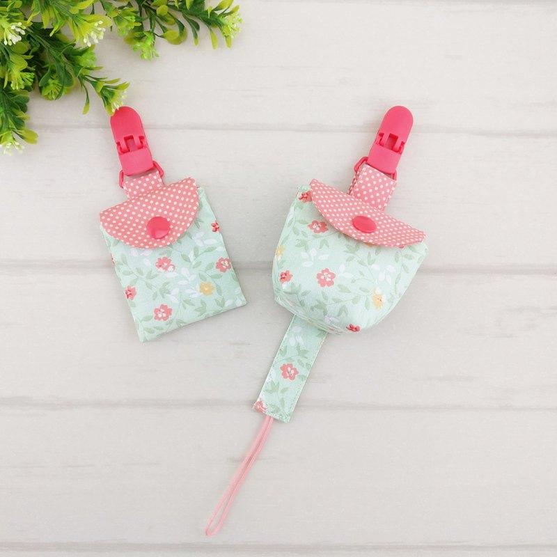 嫩綠花朵。3件組 。平安符袋+奶嘴袋+奶嘴鏈(可繡名字)