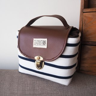 (small camera bag) Single small single eye camera thick cotton camera bag (blue and white stripes) B19