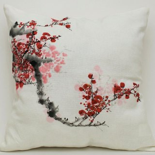 Cotton Pillow Cover with Hand Painted Plum Blossoms