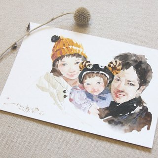 Chiao Ji hand-painted watercolor - custom parent-child portrait - [Box / 仨]