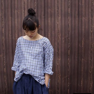 Cotton linen check Three-quarter sleeve T line pullover / gnm-15