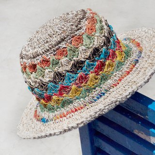 Valentine's Day gift limited handmade knitted cotton hood / weaving hat / fisherman hat / straw hat / straw hat - bright color South American wind Machu Picchu