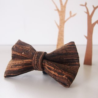 Personalized Name Wooden Grain Cork Mens Bowtie