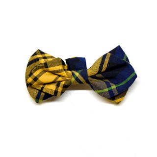 Handmade Tartan/Plaid Pet Dog Collar Accessory -Bowtie- Naughty Yellow【ZAZAZOO】
