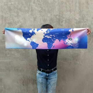 World map sport towel romantic deep blue
