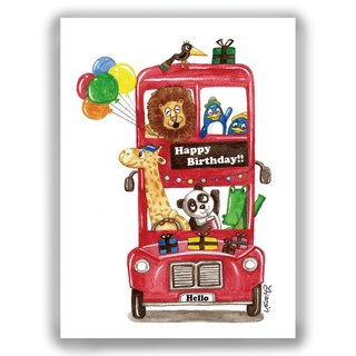 Hand drawn illustration Universal / birthday card / postcard / card / illustration card - birthday bus