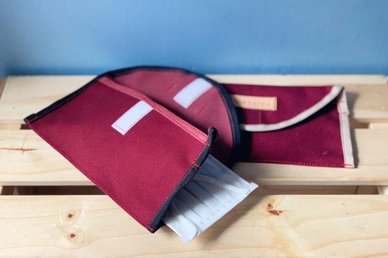 口罩收納套 (酒紅色)