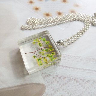 Pressed flowers jewelry, resin necklace, Tree of the Spring