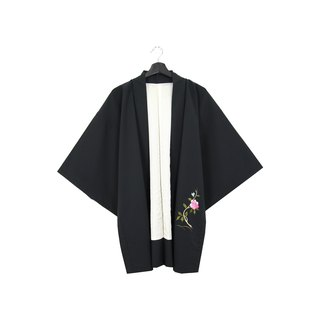 Back to Green-Japan brought back feather woven kimono embroidery blue pink flower / vintage kimono