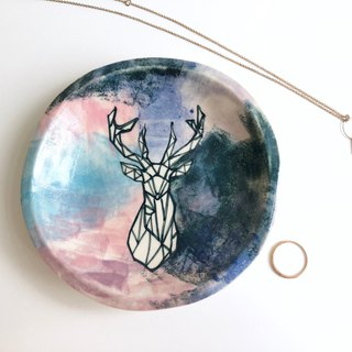 Galaxy Deer- Handmake Ceramic plate