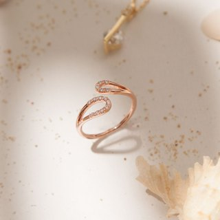 Elliptical Wave Sterling Silver Ring - Sterling Silver / Rose Gold / 18K Gold