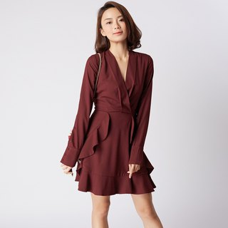 Juliana Ruffle Red Wine Dress