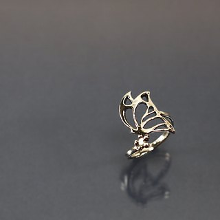 Openwork Butterfly and Flower 925 Silver Open Ring
