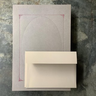Typographic photo frame letterhead envelope group / coffee paper printed wine red