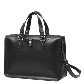 JIMMY RACING Textured Hand Strap Leather Briefcase - Black 0329242