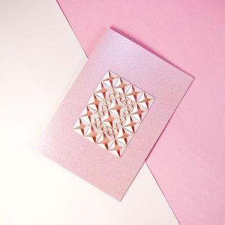 Elegant Origami Art Pearly Pink White Diamond 3D Greeting Card