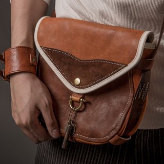 HEYOU Handmade - The Wayfarer's Bag - Traveler Saddle Bag (Coffee / Orange Brown)