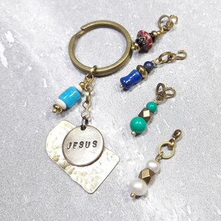 Off the letter engraved ◎ hand beat the brass key ring 【Accessories 5 election 1】