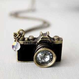 Simple black camera necklace