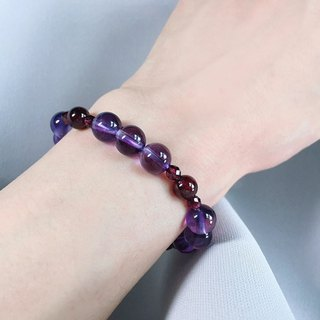 ( Ofelia. ) natural stone series. natural high grade amethyst x red garnet bracelet (J112.Mildred)