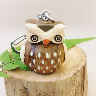 [X stereoscopic handmade wooden owl keychain / strap ✦ good fortune]