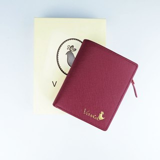 """ Burgundy Red "" Pocket Book Short Wallet / Cow Leather"