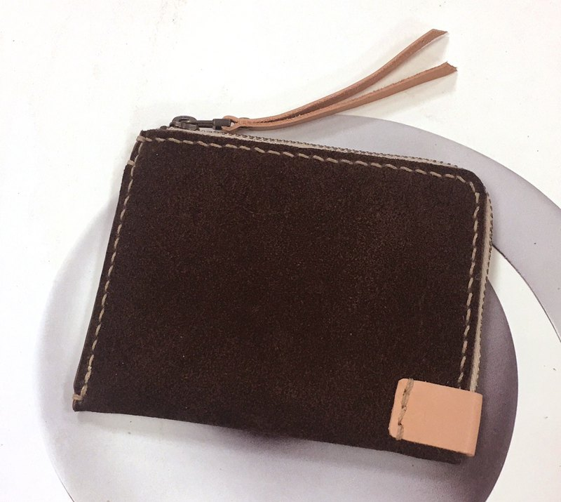 < 10% Off on Spot Style> Suede Banknote Coin Purse - Deep Tea Double Color