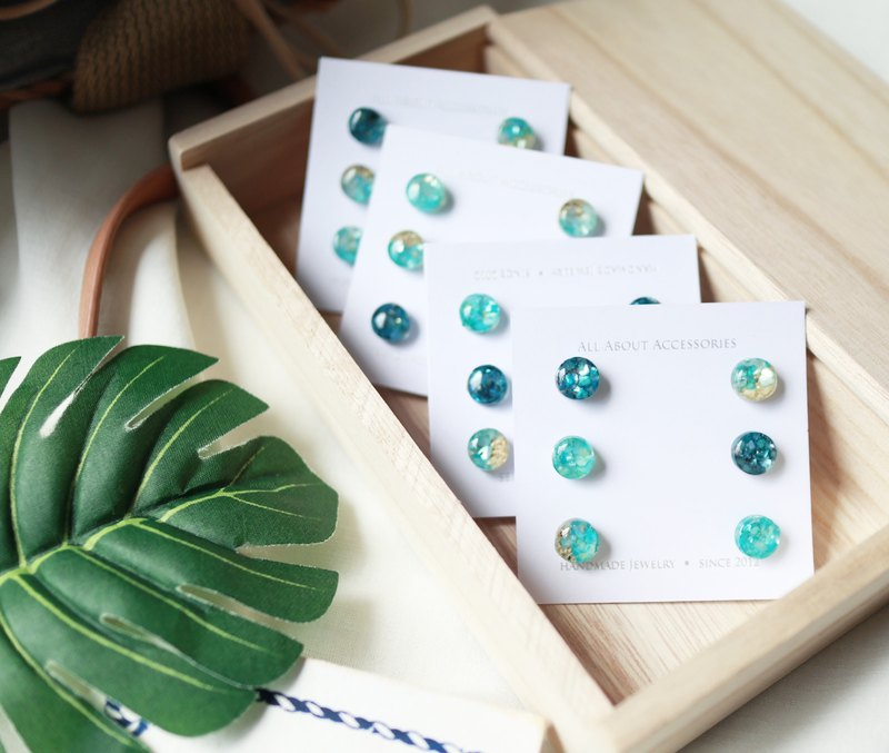 Summer Ocean Series - Small Round Shell Gravel 6 Piece Earrings