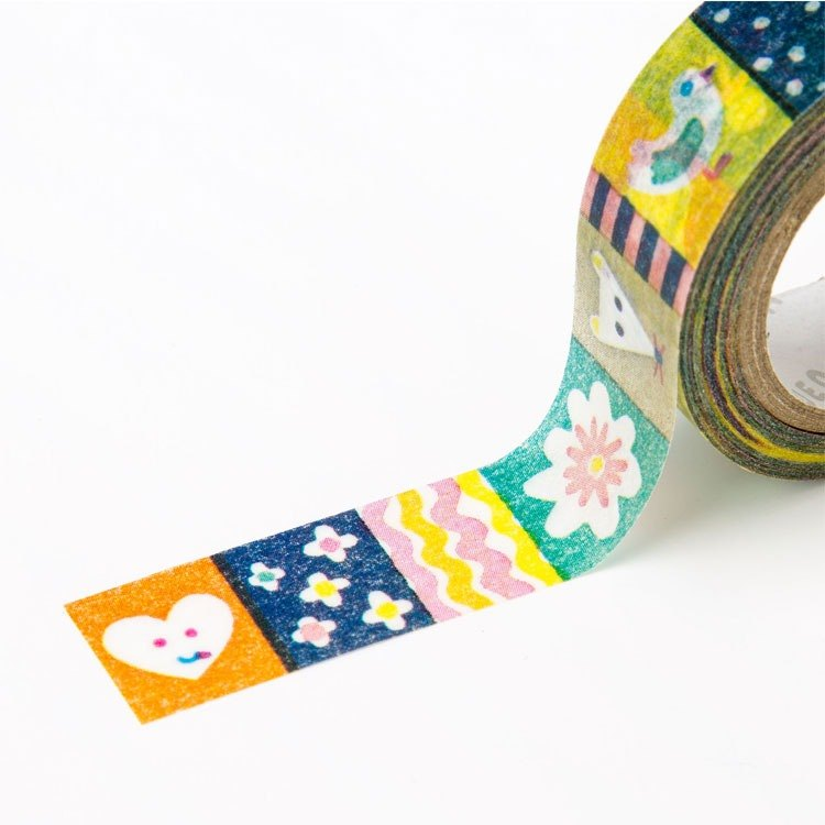 Japanese illustration paper tape - color collage