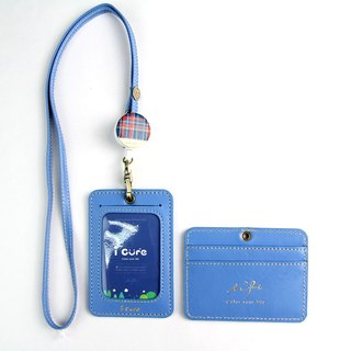 My life staff hand made leather ID card set / easy treasure blue leather hand made card sleeve expansion