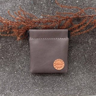Shrapnel Coin Purse Square - Fire Rock Grey Handmade Leather Wallet