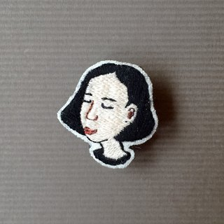 Mini Hand Embroidered Brooch / Pin F / Portrait Custom