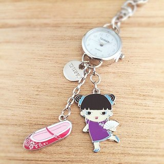 Small watch strap / key ring - Chinese Doll