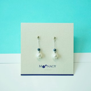 Swarovski Crystal Pearl Earring / Blue Hemitate