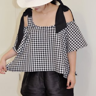 Flat 135 X Taiwan designer cotton black square pattern fabric short version of the shoulder strap free knot loose loose sense of leisure