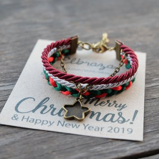 Star layered rope bracelet in maroon /light gray /green /red - Christmas gift