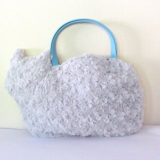 Fluffy fur bag of cats blue gray