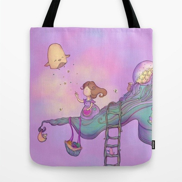 Up on the tree top purple Tote Bag