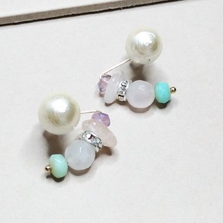 Smile true - Japanese cotton pearl 14KGF earrings ear clip