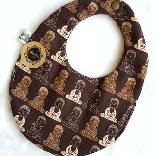 Q version of Buddha - brown - egg double-sided thick cotton bib. saliva towel 100% cotton