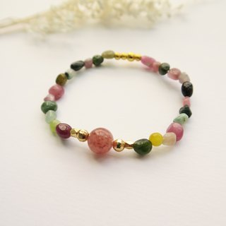 【Lifestyle • Small handpiece】 Rainbow Bi 壐 / Strawberry Crystal / Natural Stone / Crystal / 24K Gold Pearl / Ornaments • Single Ring Bracelet Women
