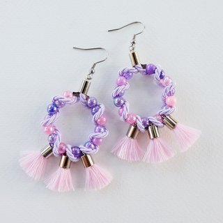 Lilac circle earrings with pale pink tassels