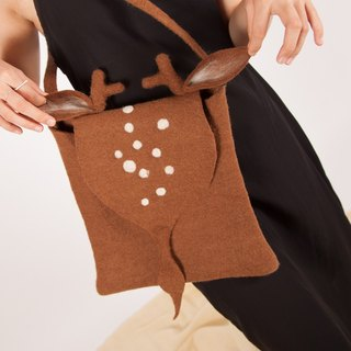 Ke people original custom Fawn bag shoulders diagonal cute small satchel pure wool Sen Department of small fresh and sweet