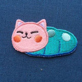 Roll in the lazy meow self-adhesive embroidered cloth stickers - baby meow meow series