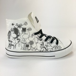 Moomin Moomin license - canvas shoes (white shoes black belt) -AE07