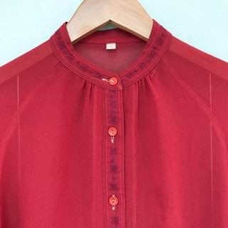 Top / Red Band-collar Long-sleeves Blouse