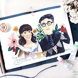 Exclusive order - ✴ couple wedding custom painting (portrait) ✴ A4 size