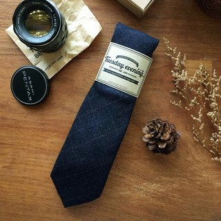 Navy Diamond Check Neck Tie
